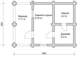 Баня из оцилиндрованного бревна 10